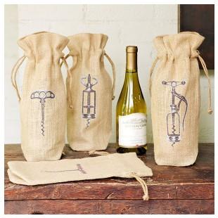 Corkscrew Wine Bags via Wisteria.com