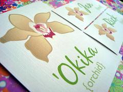 """hawaiian wedding - table """"number"""" & placecards"""