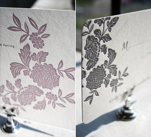 Letterpress Wedding Invitation and Letterpress Reply Card by Smock