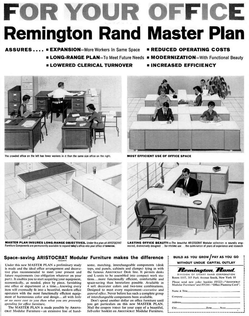 Remington Rand Modular Office Furniture Advertisement - Ebony Magazine, January, 1960