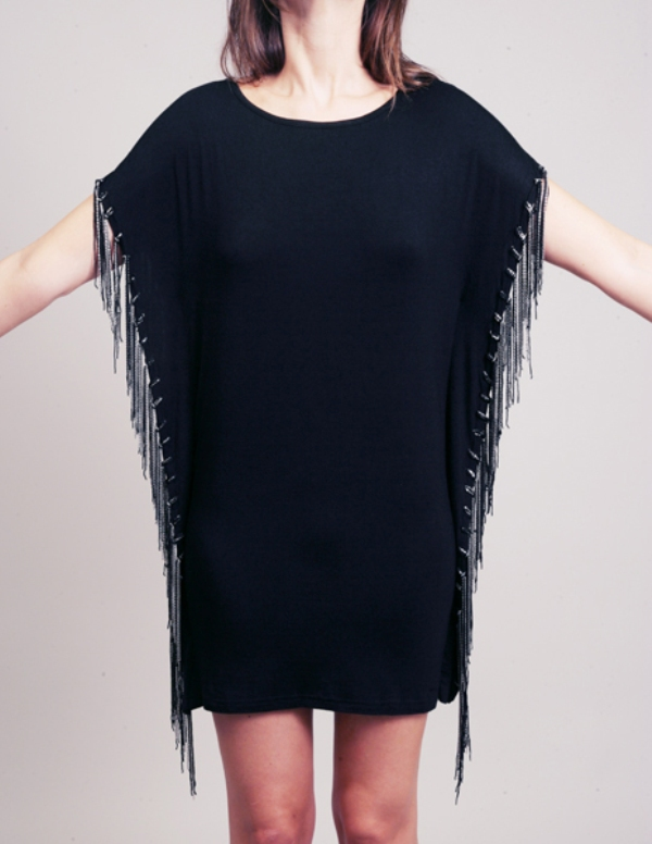 Evil Twin black tee dress with multi chain fringe side seams 3