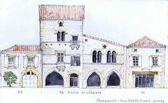 20091031 Monpazier (Maarten Ruijters) Tags: street house france watercolor sketch dordogne sketchbook watercolour prigord elevation pencildrawing bastide monpazier androne ruenotredame travelsketchbook maartenruijters maisonduchpitre