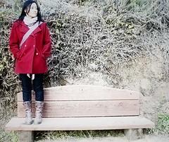 207/365: Rouge (Blissful_Bee) Tags: ca red portrait wool bench knitting boots bigsur roadtrip 365 hwy1 juliapfeifferburnsstatepark yip knitwear cowl visualdiary project365 woolcoat dailymoments onthewaytomcwayfalls