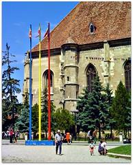 Downtown Cluj-Napoca, Romania (CameliaTWU) Tags: park trees monument alley mayor romania fir historical spruce 14thcentury clujnapoca patronsaint archangelmichael flagpoles albastru stmichaelschurch romanianflags redyellowandblue primar uniriisquare funar triangularflags rosugalbensi