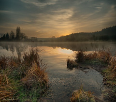 Vrada (Murder Lake), Jinolice (Stevacek) Tags: morning autumn mist lake sunrise geotagged dawn pond jinolice vertorama vrada geo:lat=5047456696253792 geo:lon=1531899862802367