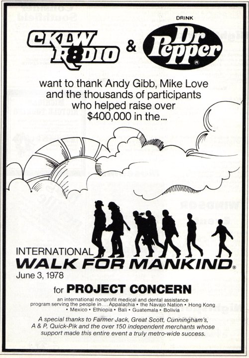 Vintage Ad #666: 1978 International Walk for Mankind (Sponsored by CKLW) - resized