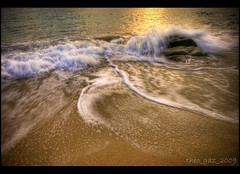 no sky just sand (Theo_G) Tags: autumn sunset sea beach landscape gold sand rocks waves greece foam halkidiki sigma1770mm canon400d