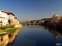 Arno viewed from Ponte Vecchio (eifelyeti110) Tags: italien italy florence europe italia eu tuscany firenze toscana reflexions italie florenz toskana bellitalia yourcountry