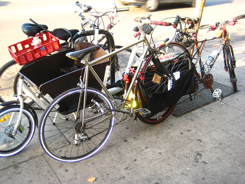 Santee Debate Teams assortment of cargo bikes stacked up outside Flying Pigeon LA.