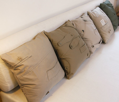 Trench coat pillows by Ouno Design