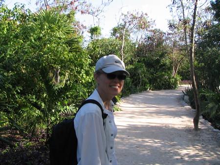 Ruth on the path to the Mayan ruin in Tulum