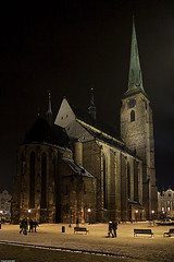 Cathedral of St. Bartholomew in Plze (Pavel Vanik) Tags: city church night canon eos pilsen czechrepublic bohemia 30d suare plze 1755is cathedralofstbartholomew