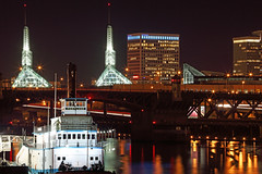 Portland at the Water Front (Ian Sane) Tags: park light water tom night canon portland ian eos lights long exposure mark towers twin center front governor ii convention 5d sane mccall the at
