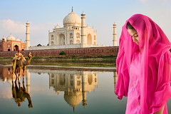 India (David Davis Photoproductions) Tags: travel boy india reflection tourism asian temple asia indian famous religion tomb tajmahal agra landmark icon mosque tourist historic worldheritagesite camel mausoleum sacred destination marble domes minarets attraction yamunariver uttarpradesh domed thirdworldcountry