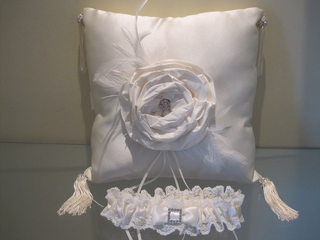 vintage couture ringbearer pillow, flowergirl basket, guestbook, garter