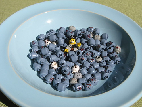 LEGO zombies in a bowl