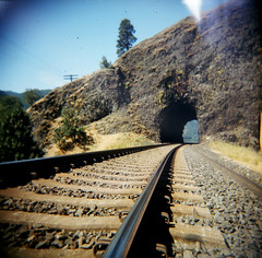 WA State Bicycle Tour Holga_06 (Sirbryanclark) Tags: washington holga traintracks tunnel columbiariver washingtonstate railroadtracks bicycletour highway14 traintunnel washingtonbybicycle washingtonstatebicycletour