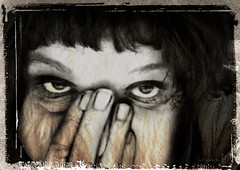 Don't answer me (vinciane.c) Tags: blackandwhite texture look eyes photobooth croping
