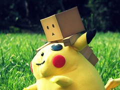 I caught you! (willycoolpics.) Tags: summer cute project outside action plush figure pikachu pokemon 365 cuteness picnik danbo icaughtyou revoltech danboard