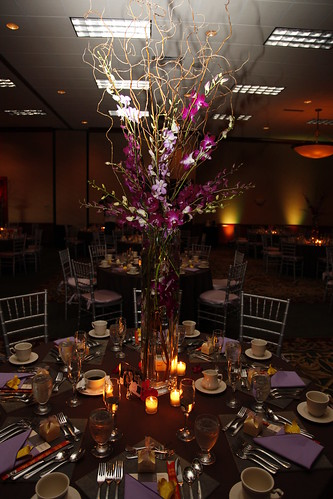 Tall reception centerpiece