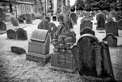 Anchorage (JohnBentley) Tags: bw white black church graveyard death cross religion tombstone graves masonary sefton