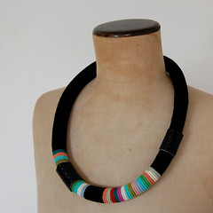 New stripey necklace (ELINtm) Tags: leather necklace colorful handmade stripes crochet jewelry jewellery handcrafted etsy multicolored crocheted striped freeform fiberjewelry elinthomas textilejewellery