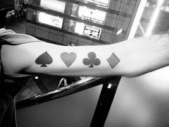23/365: Canadian Tattoo (joyjwaller) Tags: boy blackandwhite men night arm canadian tattoos playingcards project365