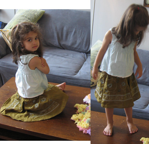 yellow-green linen skirt with embroidery
