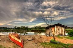 Closed for the day (Dashuki Mohd) Tags: morning travel sky nature water clouds sunrise canon river boat hut malaysia hdr pantai kelantan canonefs1022mmf3545usm chepa sabak pengkalan 40d canon40d awe2020