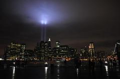 9/11/09 (SpecialKRB) Tags: newyork brooklyn worldtradecenter reflect fultonferrylanding eastriver twintowers lowermanhattan memoriallights 8thanniversary 91109 karenblumberg specialkrb