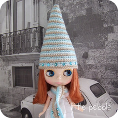 Blythe Gnome Hat and Matching Scarf Set (turquoise flowers)