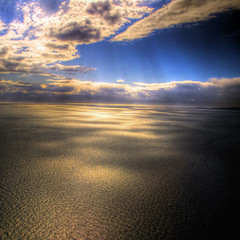Light and its Dance Steps (ecstaticist) Tags: ocean blue light cloud canada texture georgia raw ray pacific map wave columbia landing explore helicopter filter commute british rays straight frontpage tone hdr strait helijet photomatix tonemapped tonemapping pseudohdr