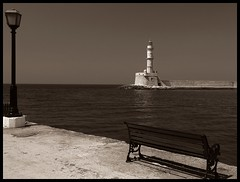 so peaceful and relaxing... (JoannaRB2009) Tags: blue sea lighthouse water sepia boat sailing harbour kreta greece crete hania soe xania chania coth mywinners