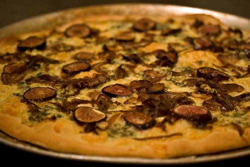 fig, balsamic onion and danish blue pizza