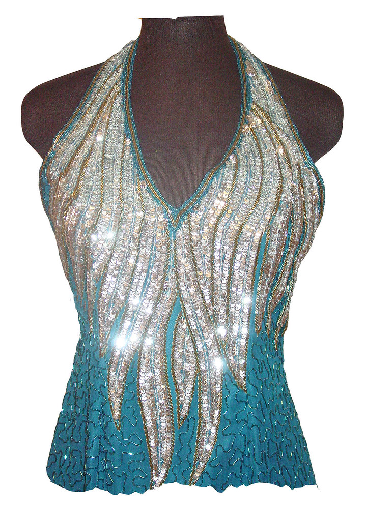 Vintage 80s beaded sequin turquoise silk cocktail formal dress Size L