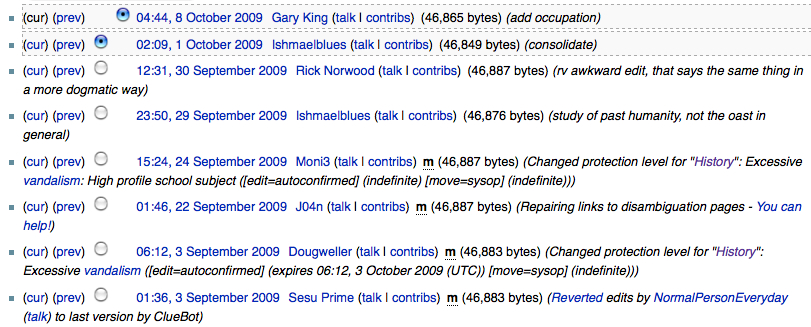 an example of a wikipedia history page