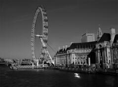 The London Eye (Rom & Rob) Tags: uk greatbritain bw white black london blakandwhite thames geotagged europe olympus e3 dslr zuiko twop 1122mm geo:lat=5150090000 geo:lon=012022500 romrob
