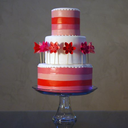 Sweet Pink & Red Paper Flower Cake