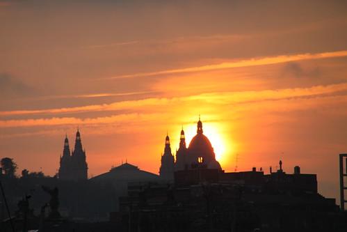 Puesta de sol en Barcelona