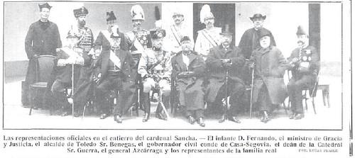 Representación oficial que acudió al entierro del Cardenal Sancha en Toledo el 28 de febrero de 1909