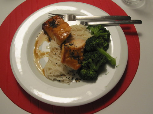 Miso-maple salmon with broccoli and rice noodles