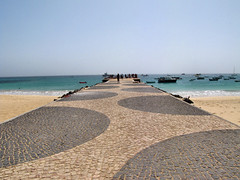 The Pier (oldt1mer) Tags: ocean sea holiday beach water boats island pier fishing sand pattern patterns stonework tropical santamaria cobbles sal circular caboverde capeverde
