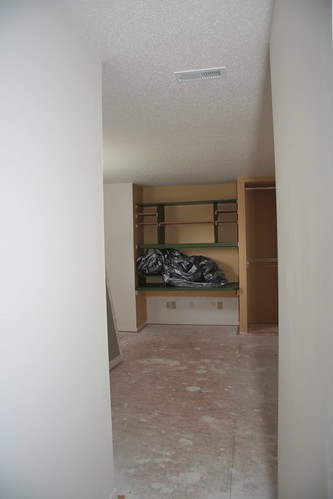 Crappy built in dest where a closet is now.