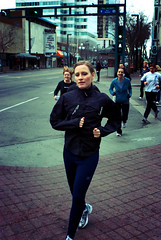 meanwhile at a different marathon (teh hack) Tags: street bridge people woman mike person photography photo lomo downtown edmonton candid running jogging esque