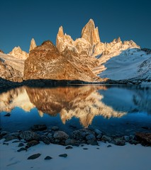 A Morning at the Secret Lake (Stuck in Customs) Tags: world chile morning travel wild sky patagonia mountain lake mountains cold color water argentina argentine rock digital america photography march blog high nikon bravo republic dynamic stuck natural secret south peak continental calm hike glacier chain crisp highland andes imaging wilderness top100 peaks range 2009 hdr trey placid travelblog customs ratcliff repblicaargentina stuckincustoms d3x treyratcliff