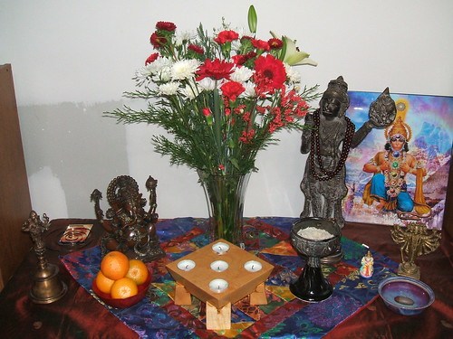 Ganesha and Hanuman altar