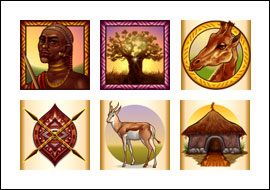 free Dance of the Masai slot game symbols