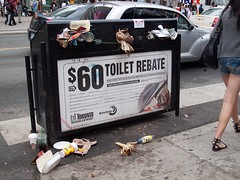 Trash spawns in the city but buckle up there's a toilet rebate! (ip.sebastian) Tags: toronto ontario canada trash crazy garbage union toilet irony strike rebate