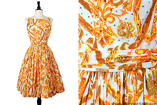1950s Divine Autumn Dress
