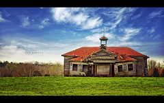 The Broken (isayx3) Tags: wood old school house green abandoned broken grass rural vintage post decay south rustic down olympus historic explore carolina torn prairie process friday schoolhouse frontpage edit e510 nonhdr evanleavitt isayx3 weeathered